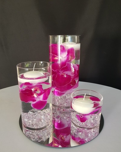 floating candles pink flowers 400